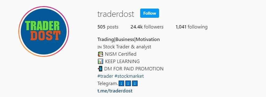 TraderDost Stock Market Instagram Account