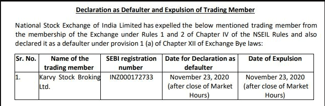 karvy broking defaulter and expulsion of trading member nse